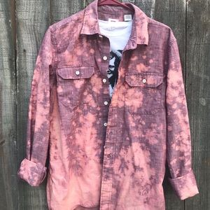 Upcycled distressed bleached button down size MED